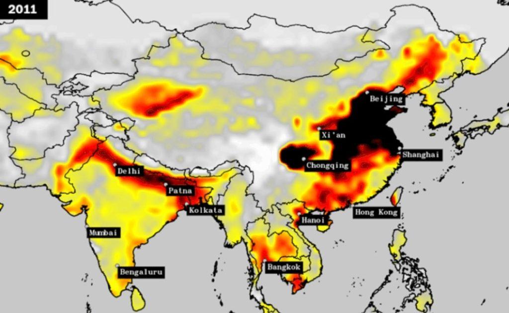 Air pollution India vs China (2011)