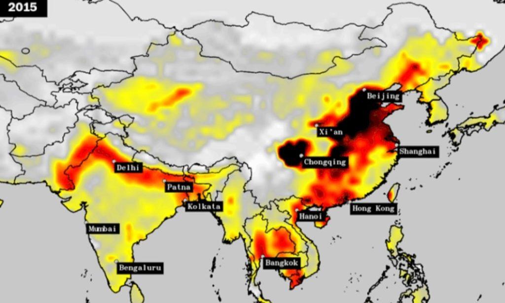 Air pollution India vs China (2015)