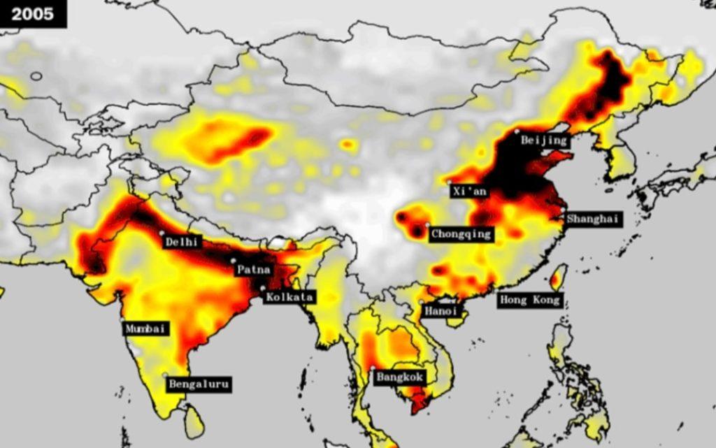 Air pollution India vs China (2005)
