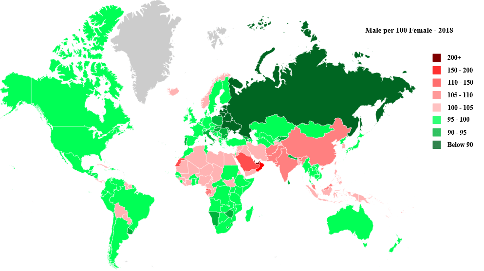 Sex ratio by country